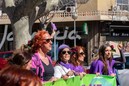 Palma de Mallorca, Spain - March 08, 2020: International Women's Day. LGBT, LGBTI, lesbian, gay and transgender pride. Feminist protest.