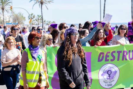 Palma de Mallorca, Spain - March 08, 2020: International Women's Day. Feminist protest crowd in the promenade of Palma.