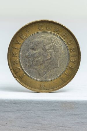 One Turkish lira coin, deteriorated and won. On a white or grey background.