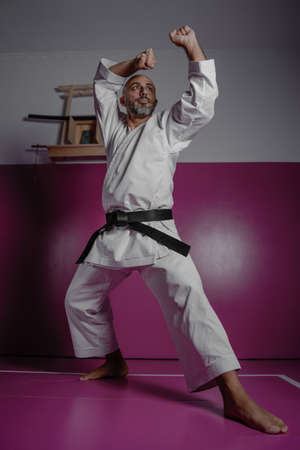 Karate master in powerful position, practicing martial arts in his dojo Banque d'images