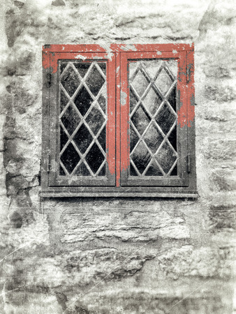 windowpane: Front window with leaded windowpane in an old stone wall, textured in a rustic style with red details and scratches and stains.