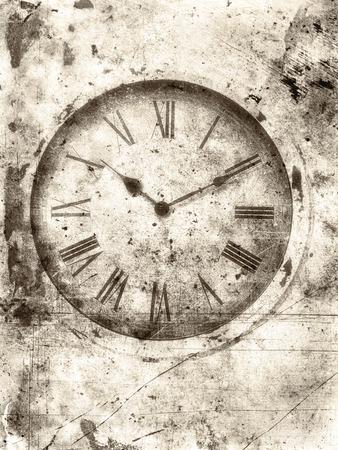 numeros romanos: Antiguo reloj con números romanos con textura en un estilo áspero sepia de la vendimia para un aspecto desgastado.