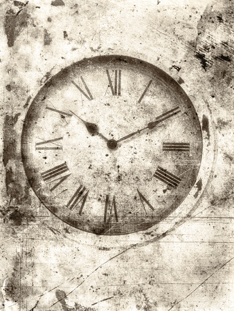 old wallpaper: Old clock with roman numerals textured in a rough vintage sepia style for a worn look. Stock Photo