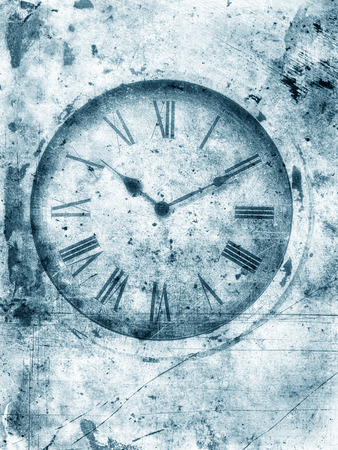 blotchy: Weathered old clock in black and white with roman numerals textured with scratches and stains for a grungy look. Stock Photo