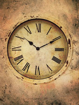 numeros romanos: Reloj de la vendimia con los números romanos en un estilo sucio. Foto de archivo