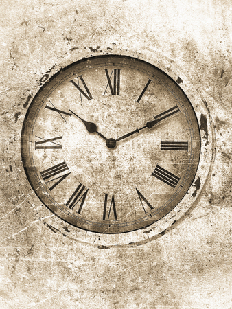 numerals: Clock with roman numerals textured in an aged sepia vintage style with brighter edges.