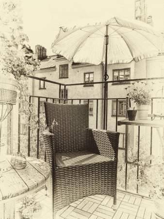 sweden resting: Artistic textured image in antique style of a cozy decorated summer balcony in the city.