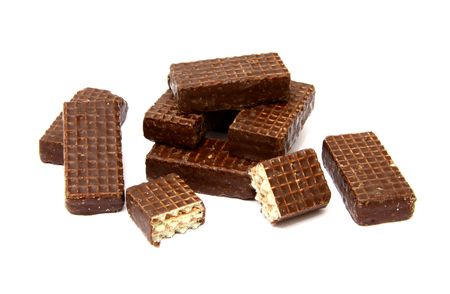 Chocolate waffers isolated on white photo