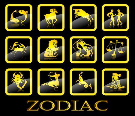 Gold zodiac signs on black background