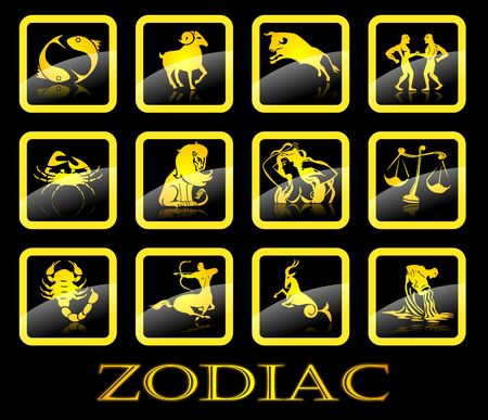 Gold zodiac signs on black background