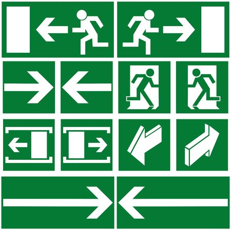 Green evacuation signs and symbols Stock Photo