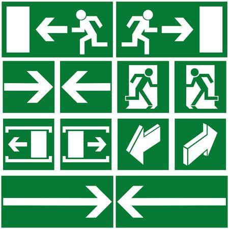 evacuatie: Groene evacuatie tekens en symbolen Stockfoto