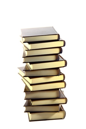 Bronze books tower isolated on white background Stock Photo - 8457370