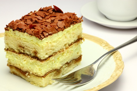 Traditional italian tiramisu closeup view photo
