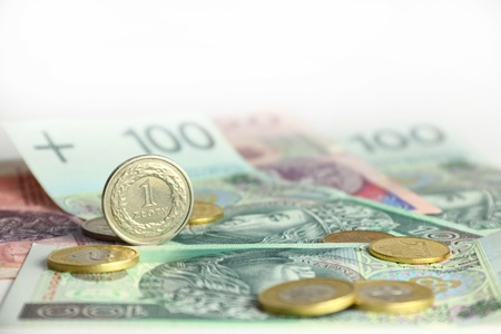 Pack of polish currency, banknotes and coins photo