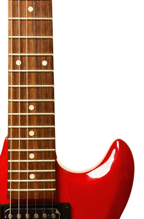 Details of red electric modern guitar