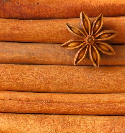 Cinnamon sticks and anise star background photo