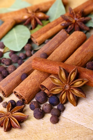 pimento: Pack of several oriental spices, anise, cinnamon, pimento