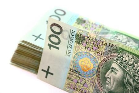 Closeup view of many polish banknotes