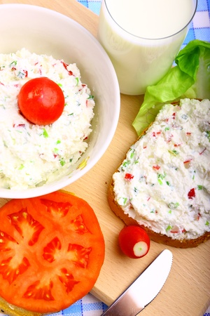 Delicious diet breakfast made from cottage cheese with chive and radish Stock Photo - 9567736