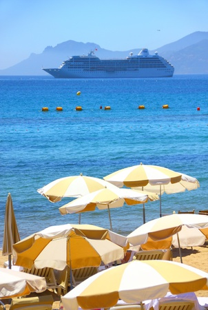 Beautiful beach in Cannes, France Stock Photo - 9950805