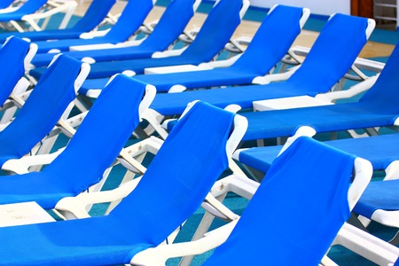 Close view of deck chairs in line Stock Photo - 9950806