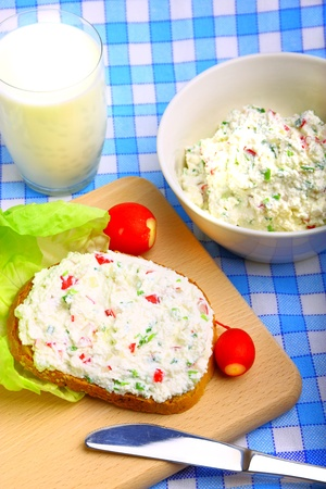 Delicious diet breakfast made from cottage cheese photo