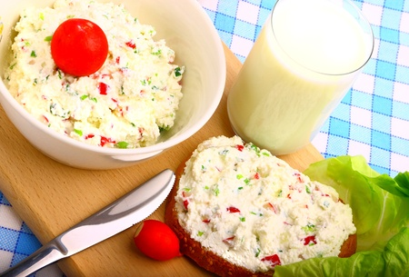 Delicious diet breakfast made from cottage cheese Stock Photo