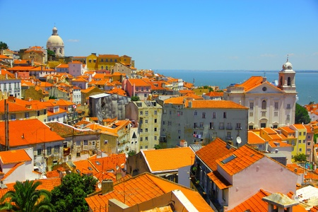 Beautiful overview of Lisbon old city, Portugal Imagens