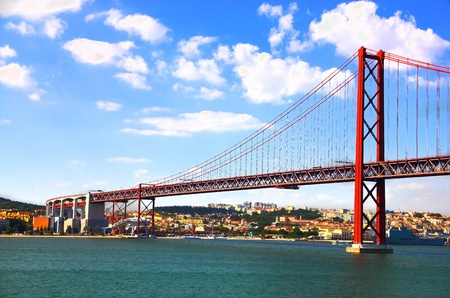 Huge road and rail bridge in Lisbon, Portugal Stock Photo - 10652366