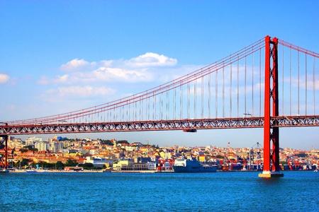 Huge road and rail bridge in Lisbon, Portugal