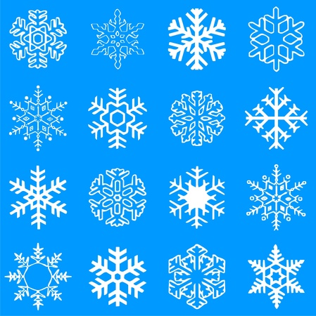 Collection of beautiful vector winter snowflakes Ilustração