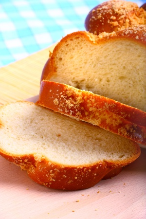 Closeup view of sweet baked bread challah