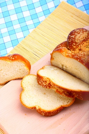 Closeup view of sweet baked bread challah photo