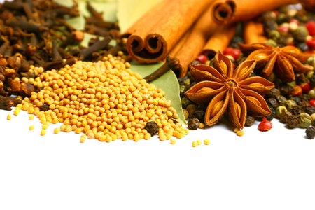 Pack of several spices, anise, cinnamon, pepper, charlock photo