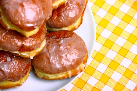 good cholesterol: Delicious dessert made of several glazed donuts Stock Photo