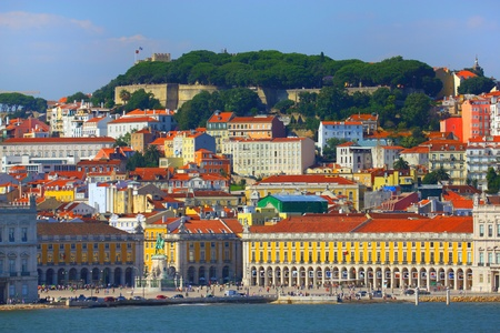 Beautiful view of Lisbon old city, Portugal Imagens