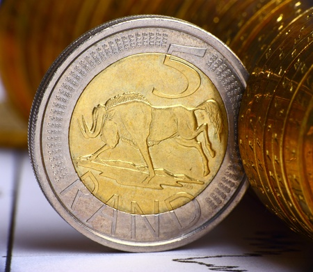 Extremely close up view of South African currency