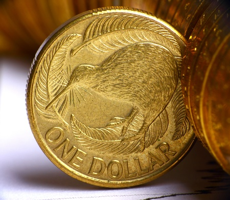 Extremely close up view of New Zealand dollar currency photo