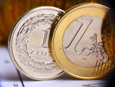 Extremely close up view of European and Poland currency