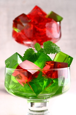 Delicious sweet jelly dessert in elegant goblet