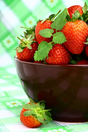 Delicious strawberry dessert in elegant dark bowl Stock Photo - 13557800