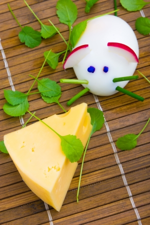Mouse made from egg with cheese for child breakfast Stock Photo - 13811240