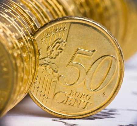 extremely: Extremely close up view of European currency