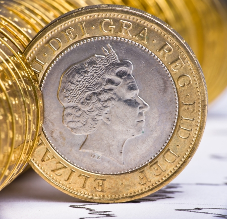 Extremely close up view of British currency Stock Photo