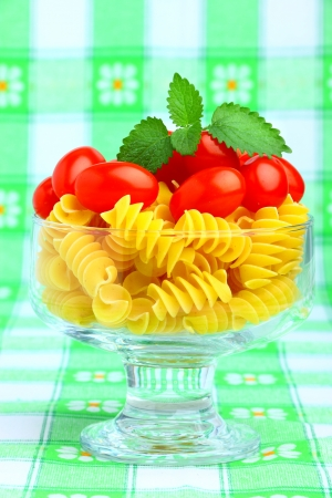 Delicious cherry tomatoes with pasta in goblet Stock Photo - 13966727