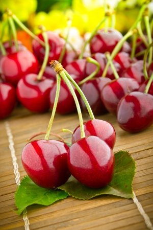 Delicious fresh sweet cherry fruits photo