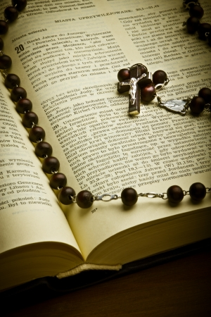 rosary: Christian Holy Bible with Crucifix on rosary