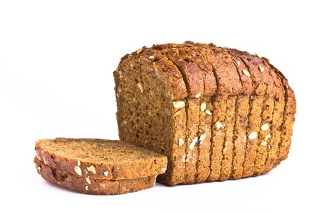 Delicious wholemeal baked bread isolated on white background