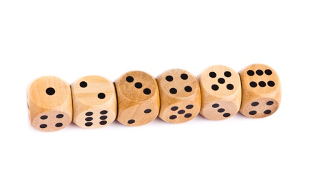 Wooden dice for board game isolated on white background photo